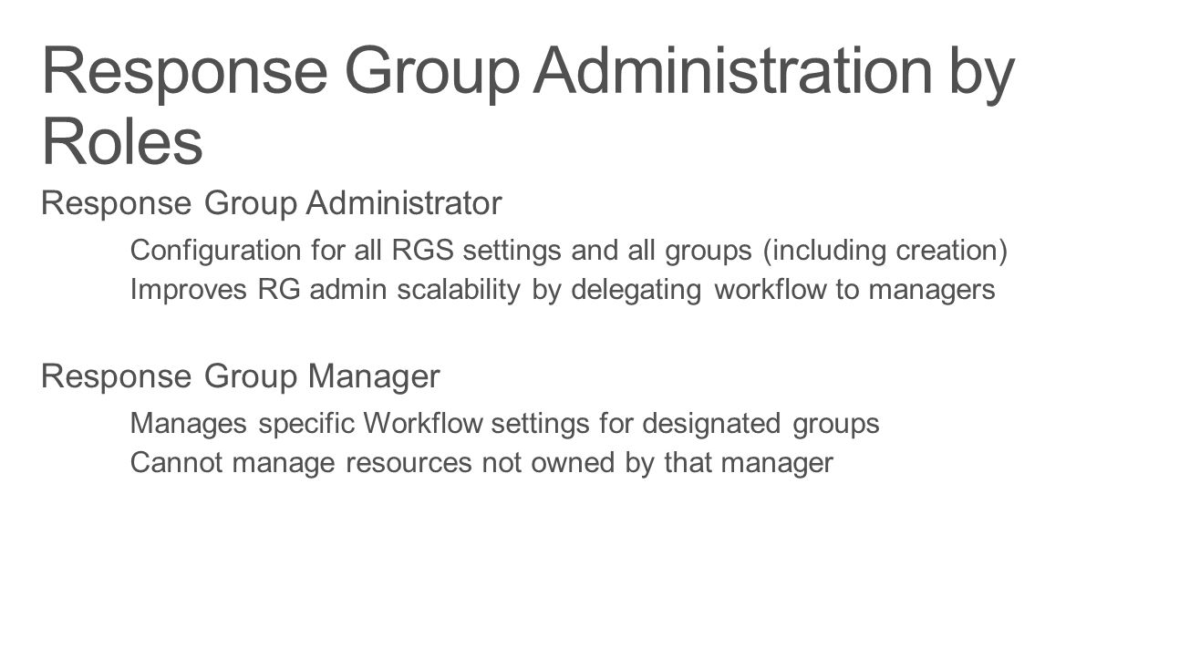 Response Group Administration by Roles