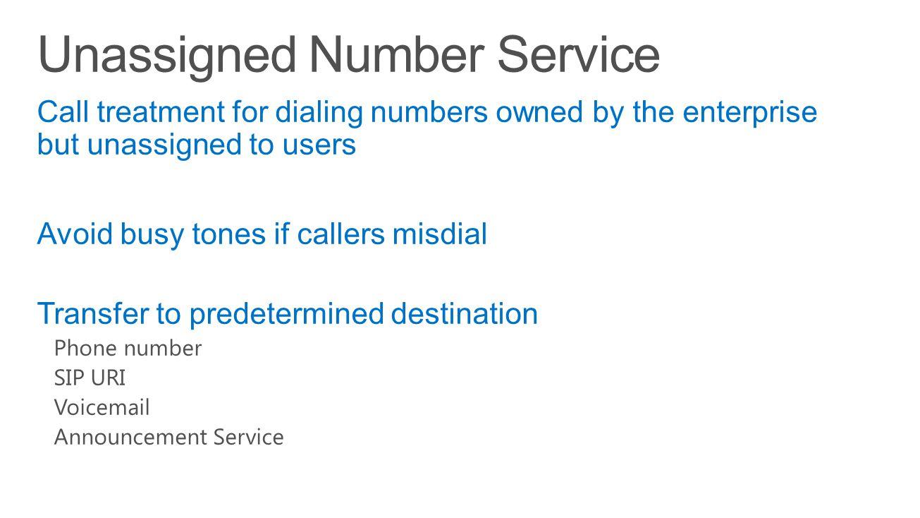 Unassigned Number Service
