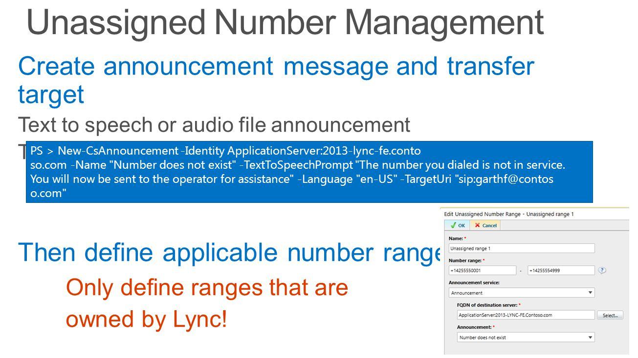 Unassigned Number Management