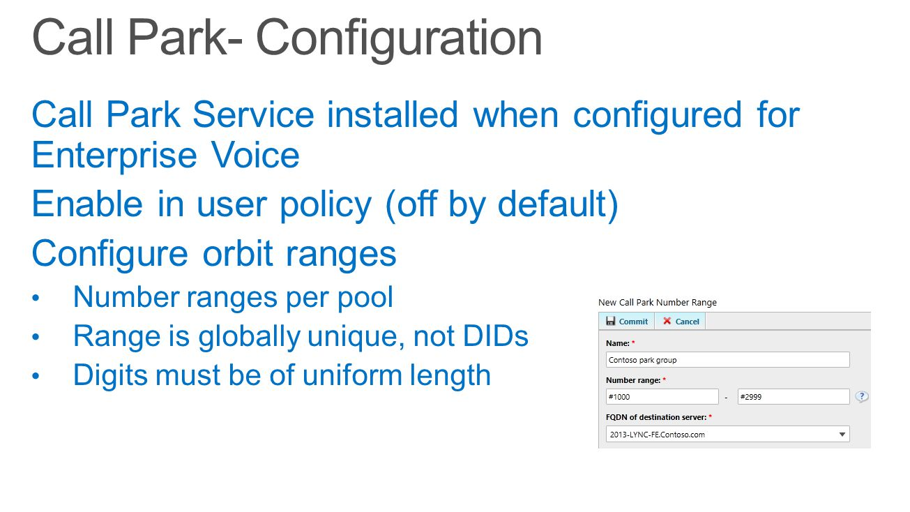 Call Park- Configuration