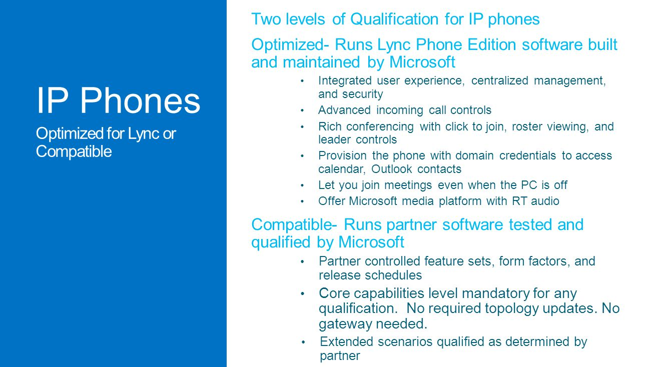 IP Phones Two levels of Qualification for IP phones