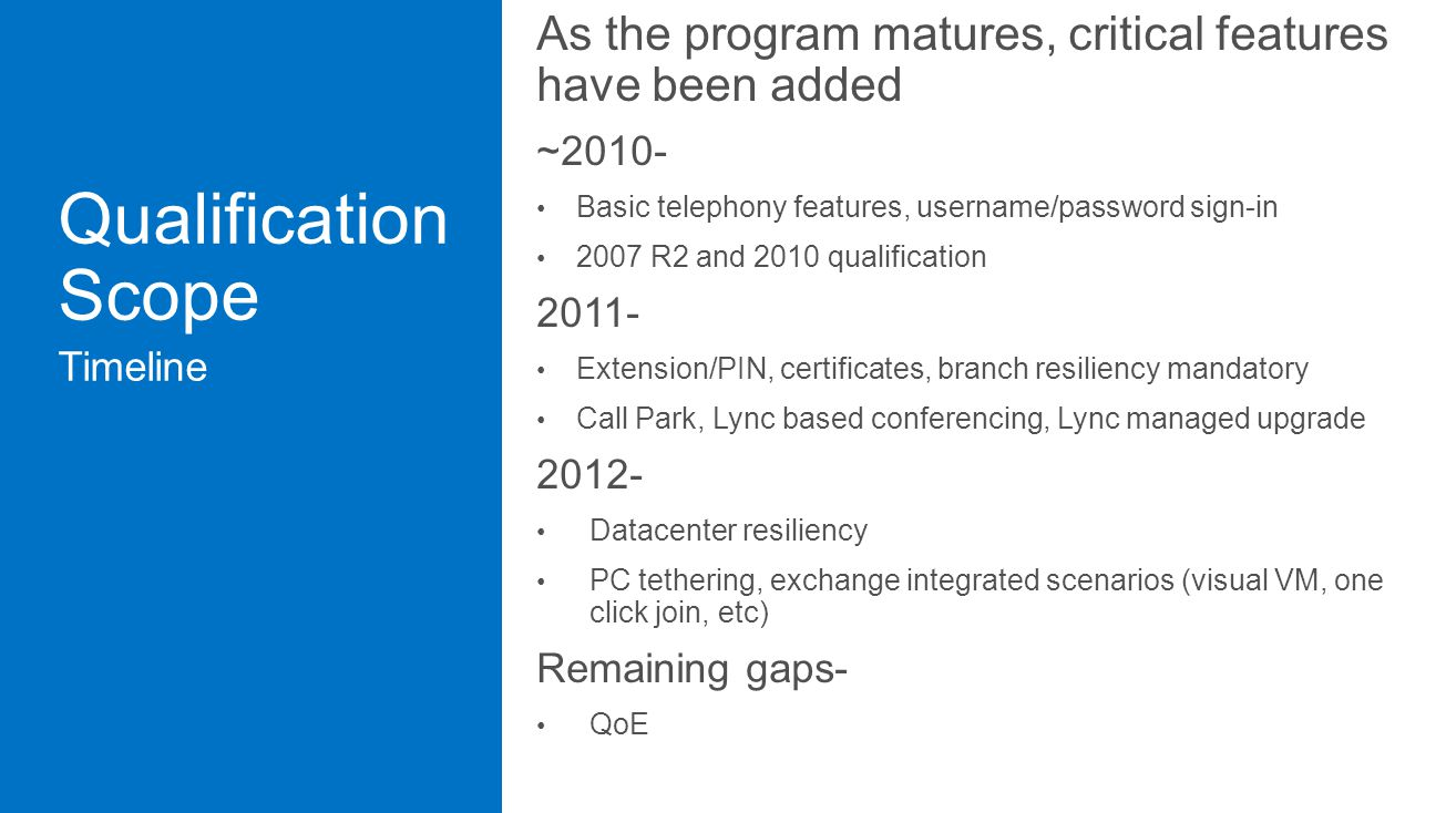 As the program matures, critical features have been added