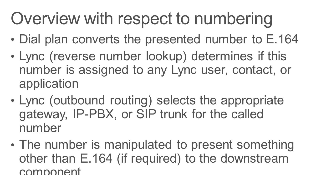 Overview with respect to numbering