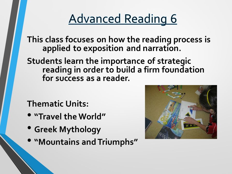 Advanced Reading 6 This class focuses on how the reading process is applied to exposition and narration.