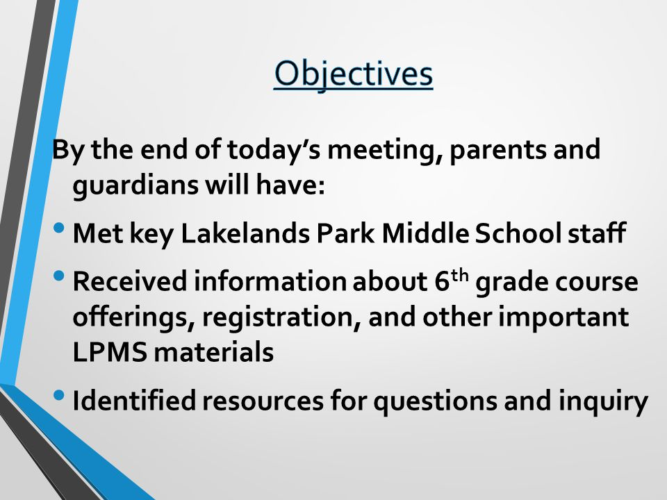 Objectives By the end of today's meeting, parents and guardians will have: Met key Lakelands Park Middle School staff.