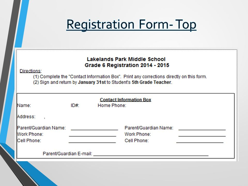 Registration Form- Top