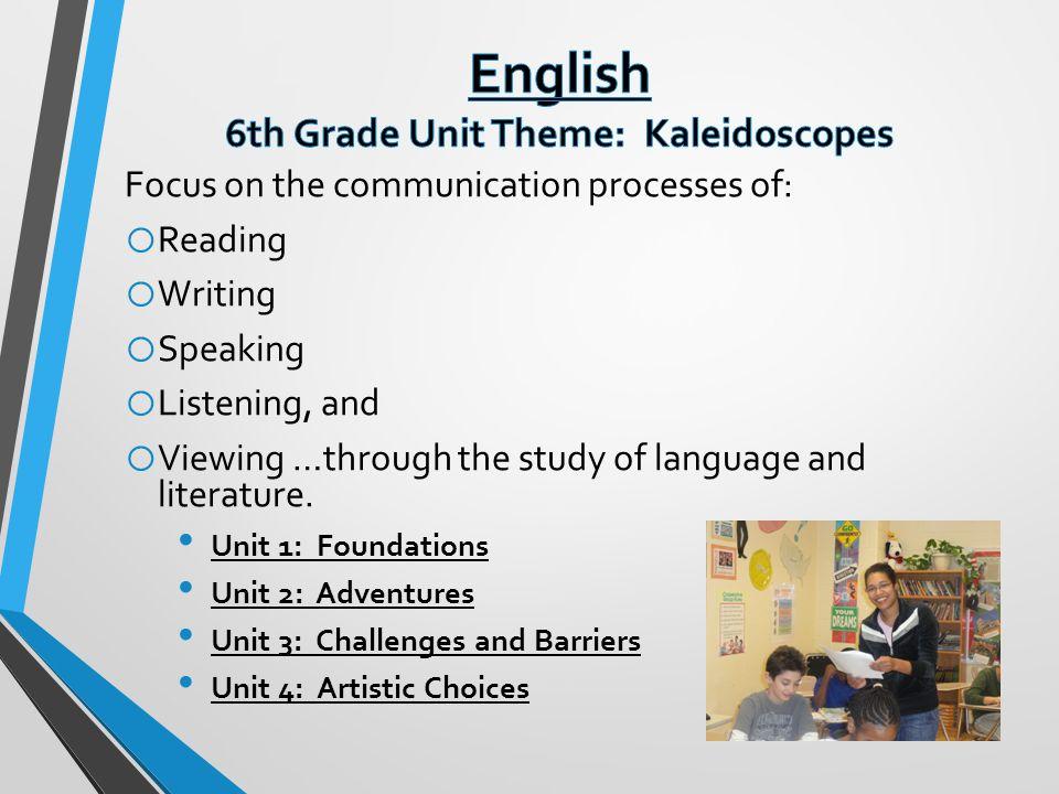 English 6th Grade Unit Theme: Kaleidoscopes