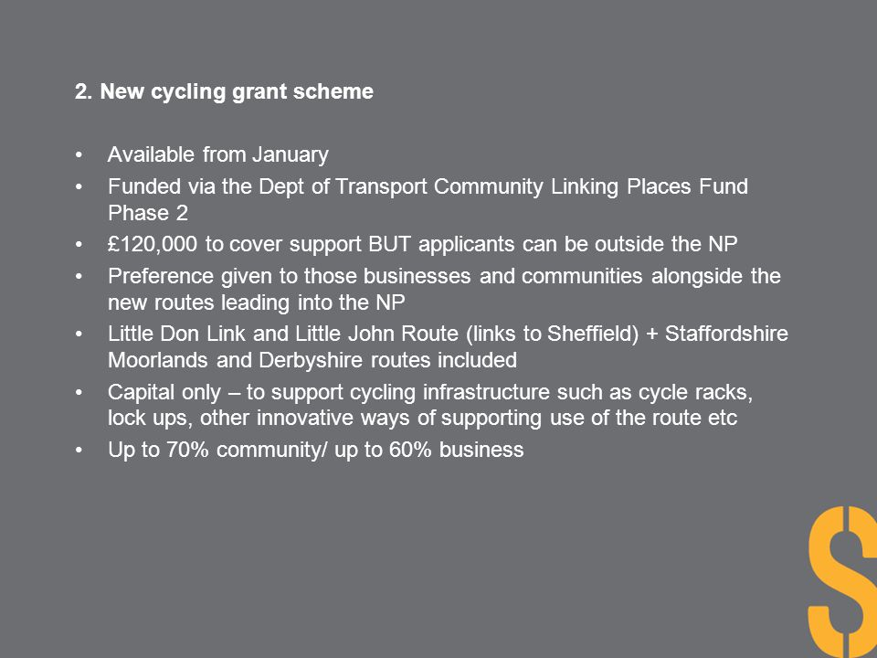 2. New cycling grant scheme