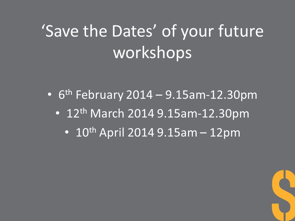 'Save the Dates' of your future workshops