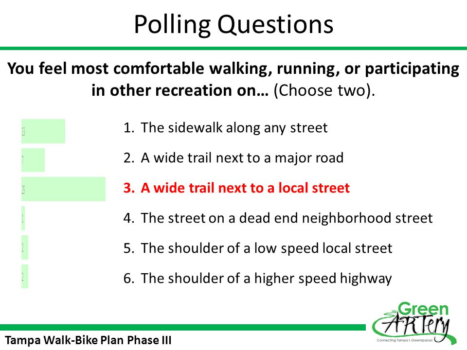 Polling Questions You feel most comfortable walking, running, or participating in other recreation on… (Choose two).