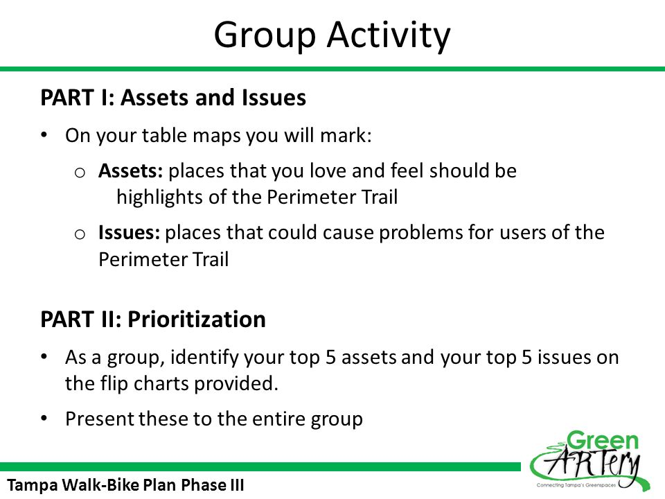Group Activity PART I: Assets and Issues PART II: Prioritization