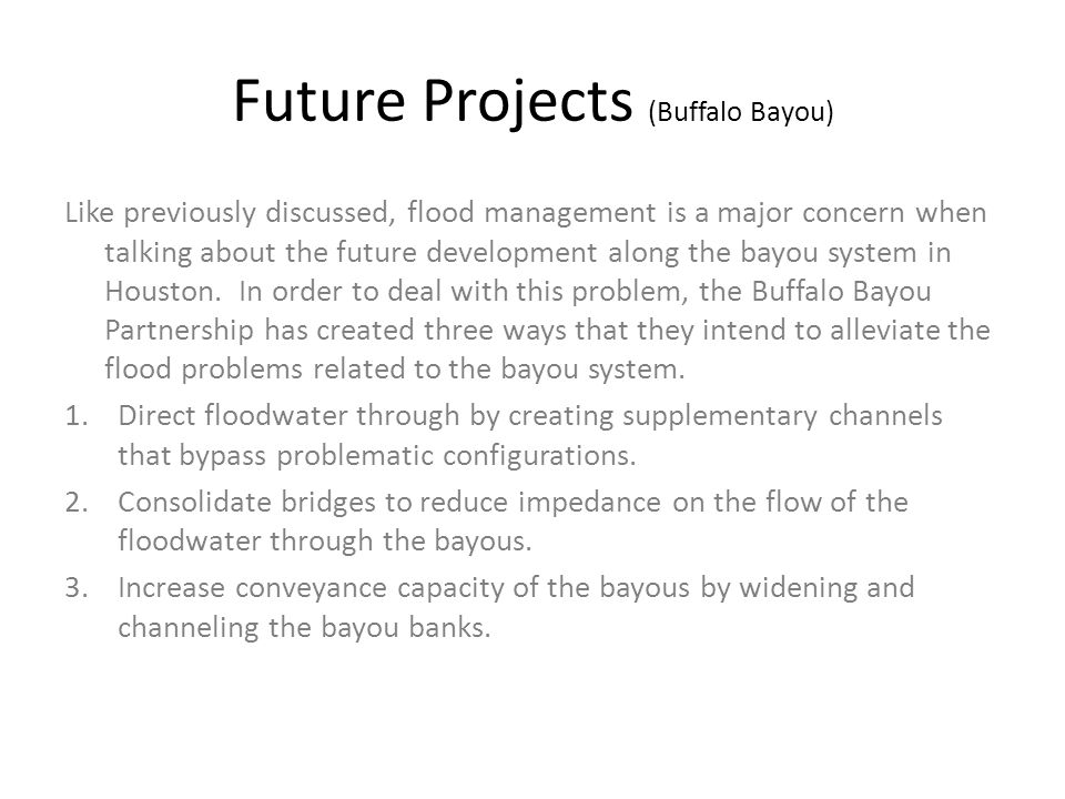 Future Projects (Buffalo Bayou)