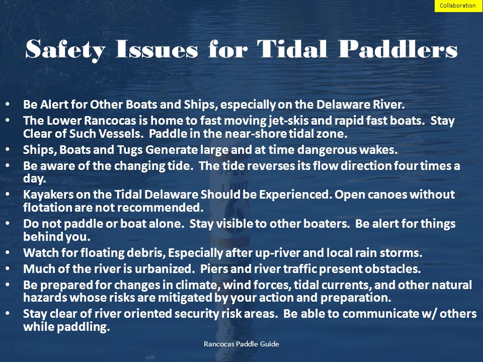 Safety Issues for Tidal Paddlers