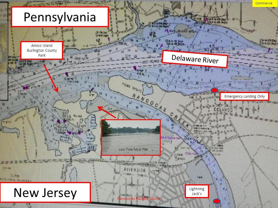 Pennsylvania New Jersey Delaware River Rancocas Paddle Guide Commerce