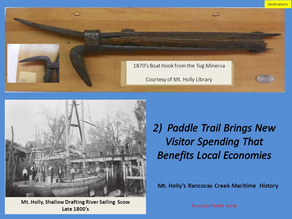 Destinations 1870's Boat Hook from the Tug Minerva. Courtesy of Mt. Holly Library.