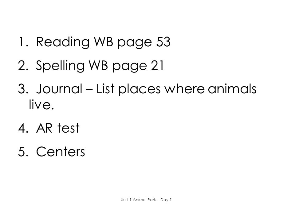 3. Journal – List places where animals live.