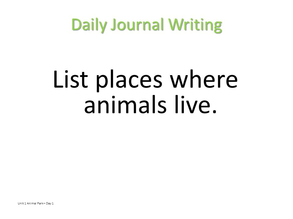 List places where animals live.