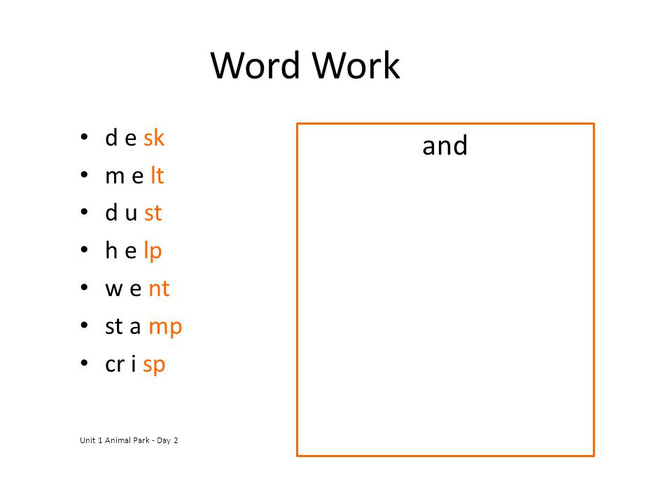 Word Work and d e sk m e lt d u st h e lp w e nt st a mp cr i sp