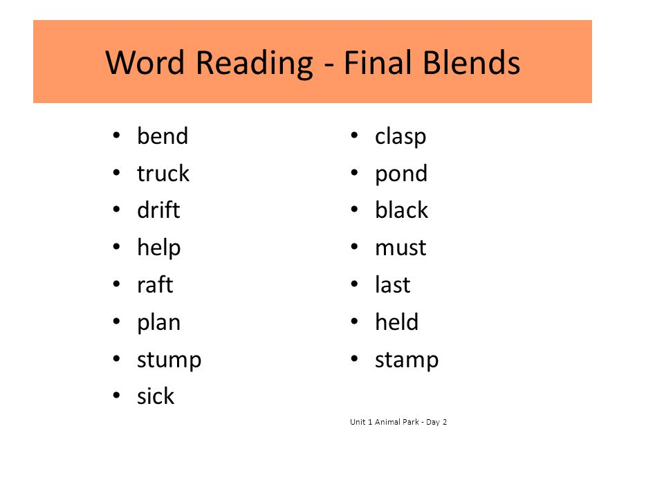 Word Reading - Final Blends