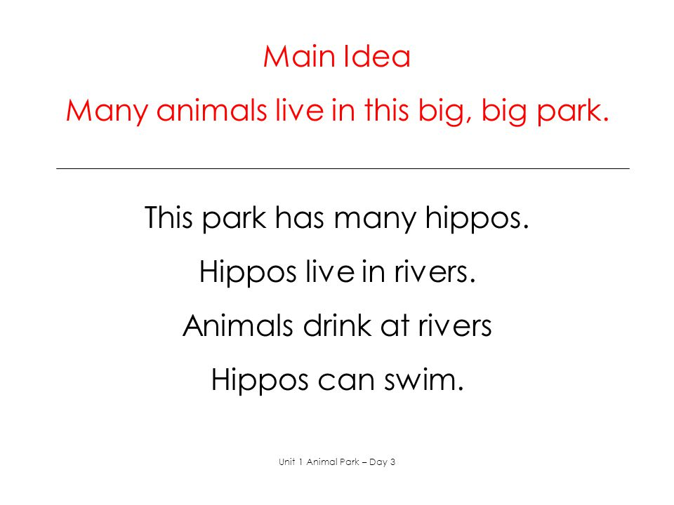Many animals live in this big, big park.