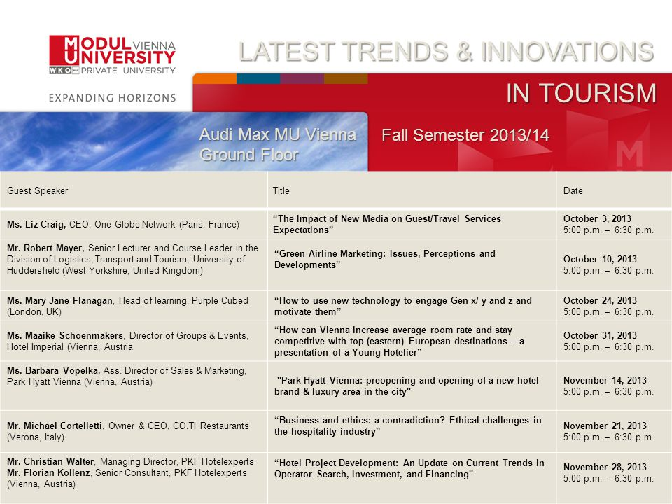 Cover slide LATEST TRENDS & INNOVATIONS IN TOURISM Audi Max MU Vienna