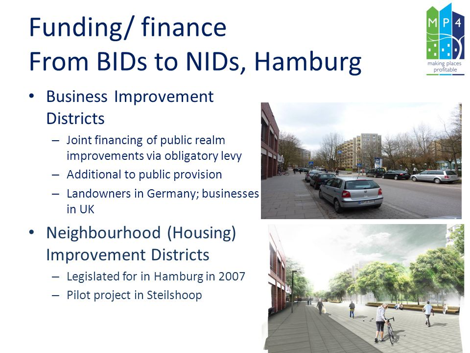 Funding/ finance From BIDs to NIDs, Hamburg