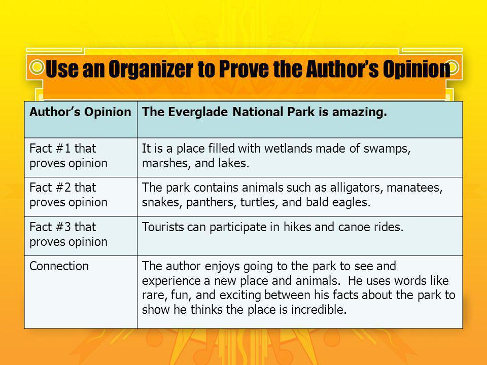 Use an Organizer to Prove the Author's Opinion