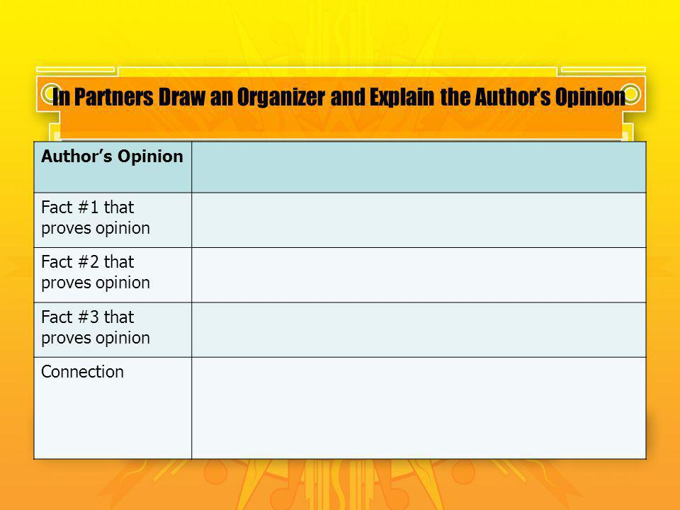 In Partners Draw an Organizer and Explain the Author's Opinion