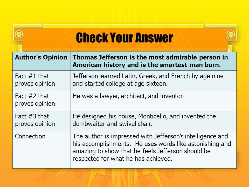 Check Your Answer Author's Opinion