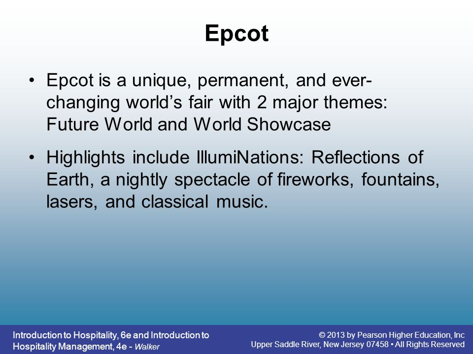 Epcot Epcot is a unique, permanent, and ever-changing world's fair with 2 major themes: Future World and World Showcase.