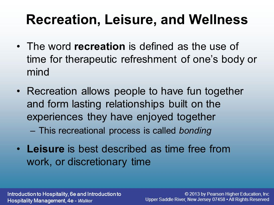 Recreation, Leisure, and Wellness