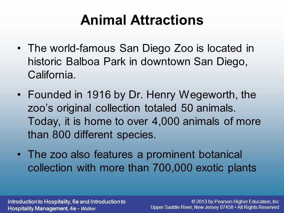 Animal Attractions The world-famous San Diego Zoo is located in historic Balboa Park in downtown San Diego, California.