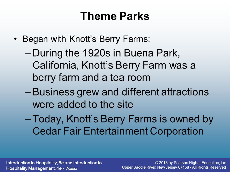 Theme Parks Began with Knott's Berry Farms: During the 1920s in Buena Park, California, Knott's Berry Farm was a berry farm and a tea room.