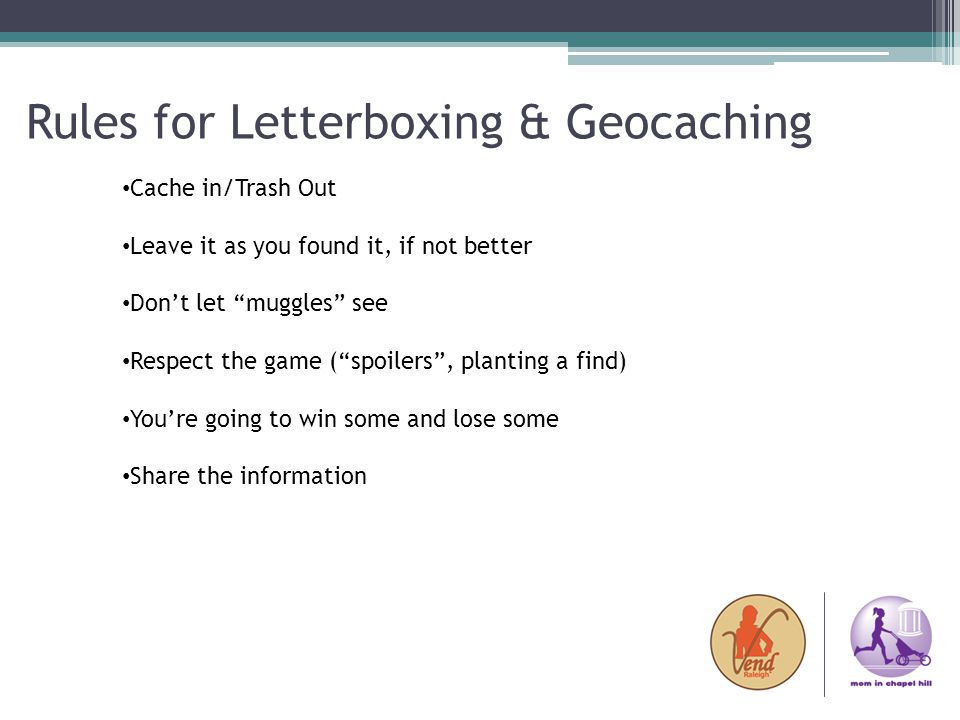 Rules for Letterboxing & Geocaching