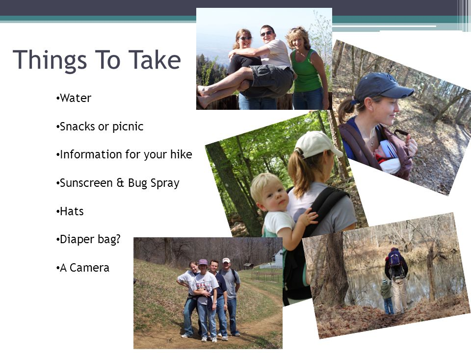 Things To Take Water Snacks or picnic Information for your hike