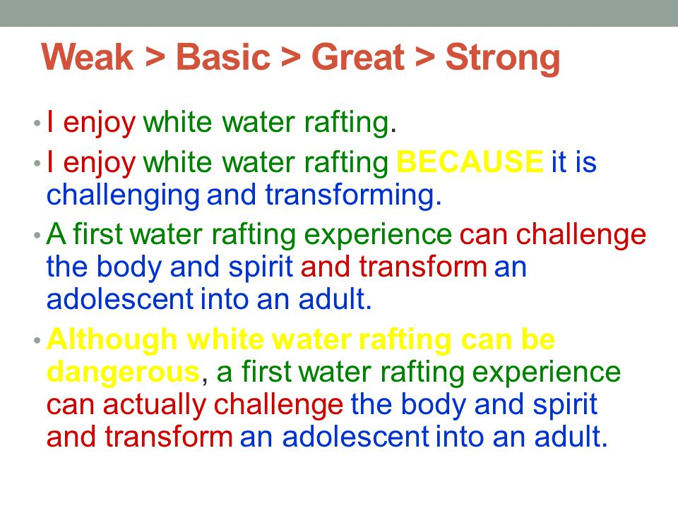 Weak > Basic > Great > Strong