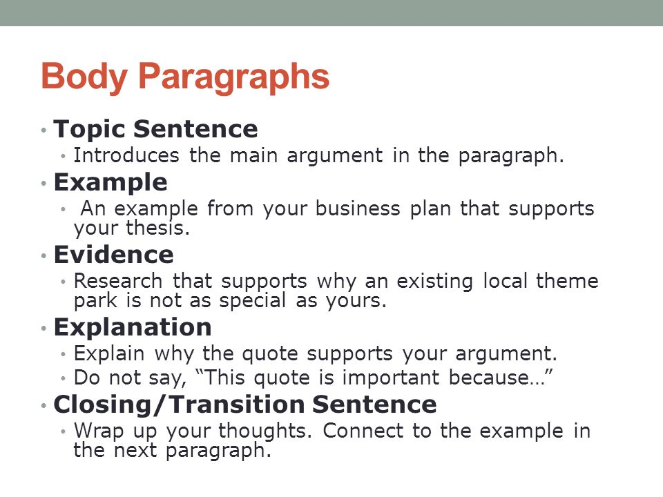 Body Paragraphs Topic Sentence Example Evidence Explanation