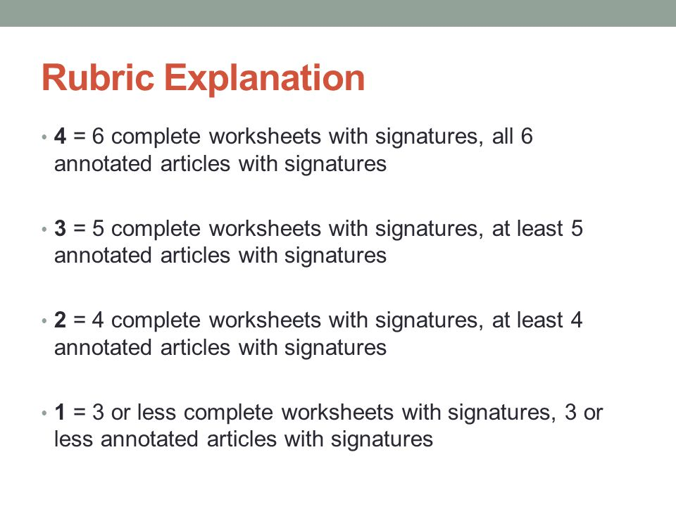 Rubric Explanation 4 = 6 complete worksheets with signatures, all 6 annotated articles with signatures.