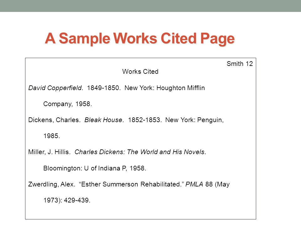 A Sample Works Cited Page