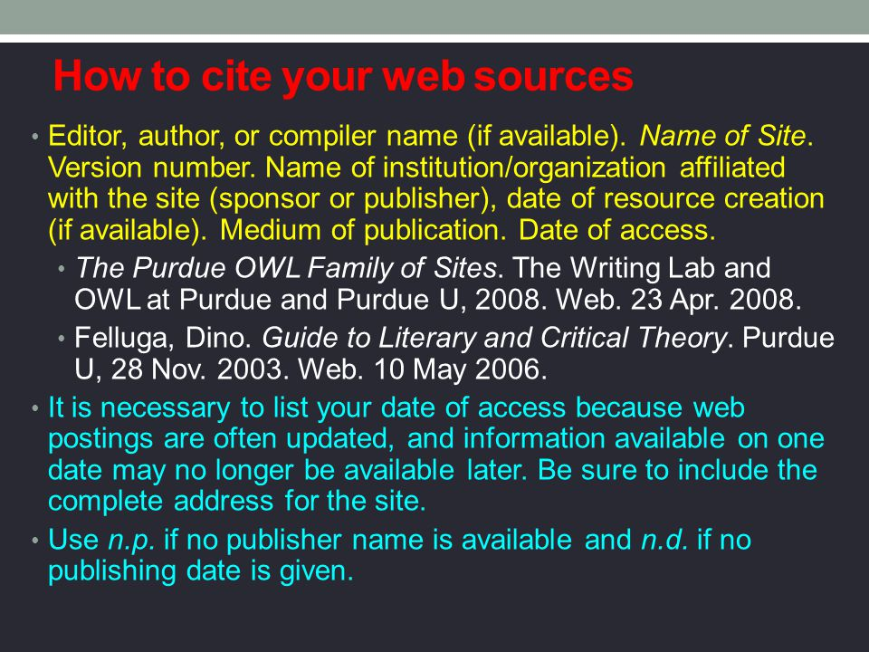 How to cite your web sources