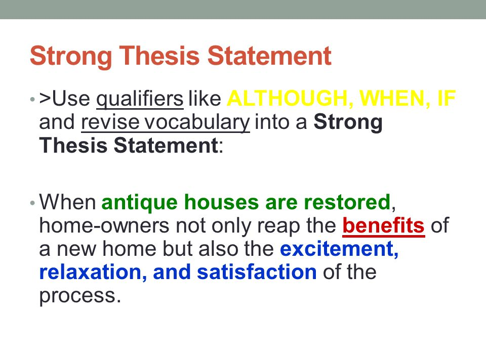 examples of a strong thesis statement A thesis statement, when used for job searching, is a brief description of yourself, your characteristics, and your skills here's information and examples.