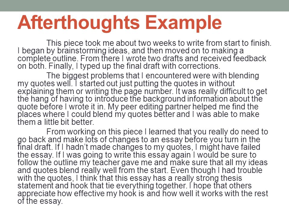 Afterthoughts Example