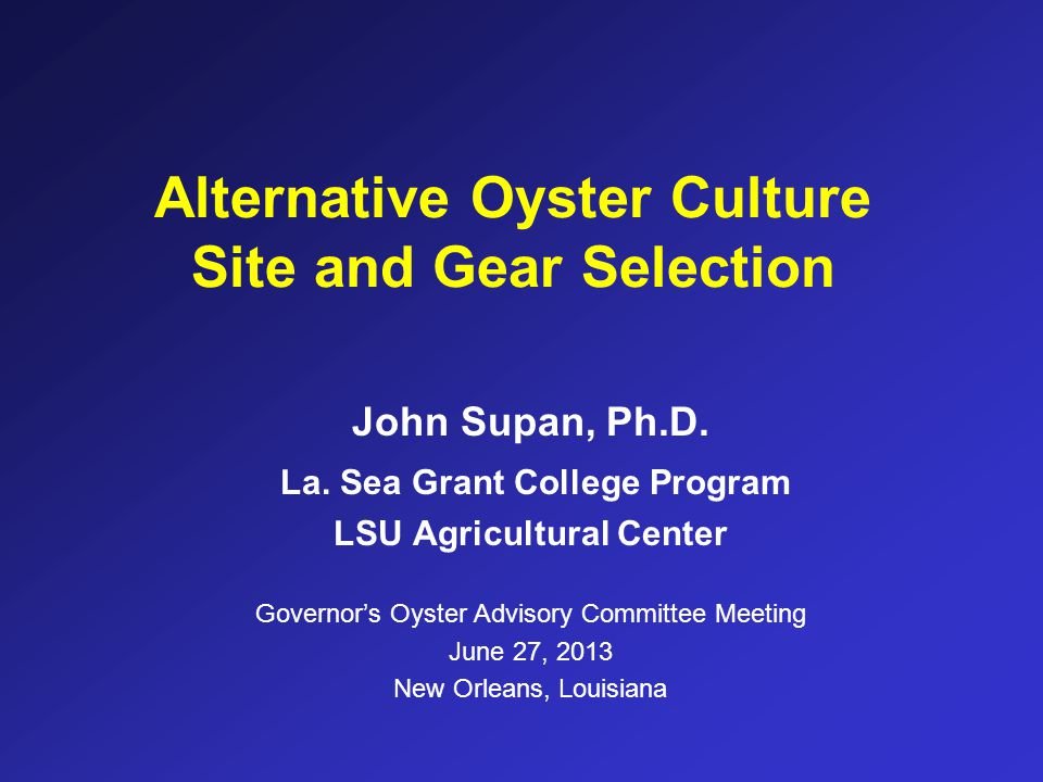 Alternative Oyster Culture Site and Gear Selection
