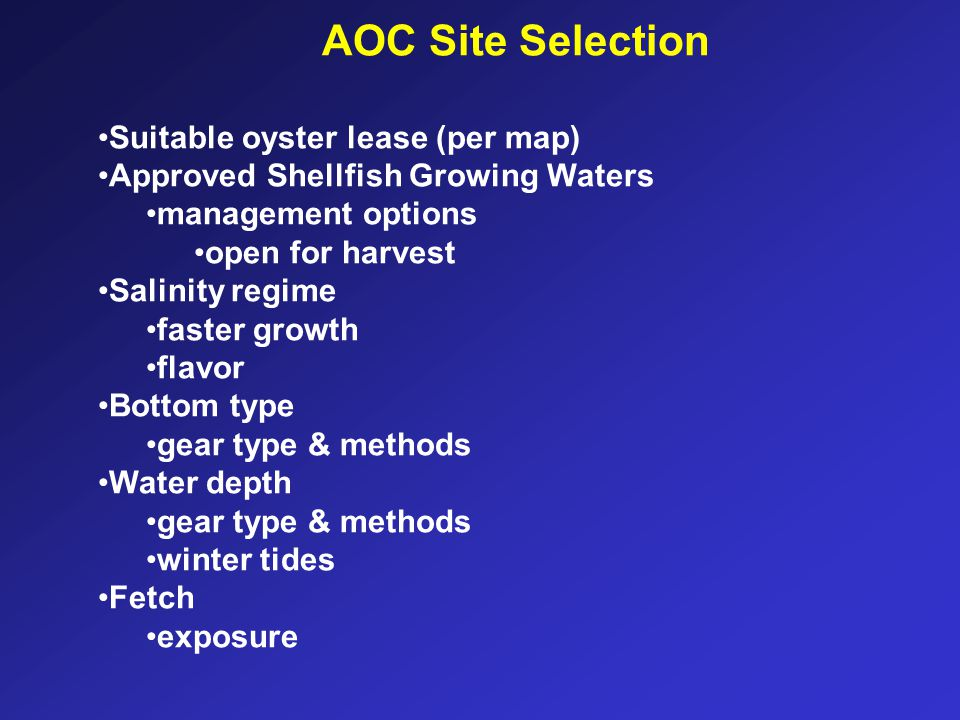 AOC Site Selection Suitable oyster lease (per map)