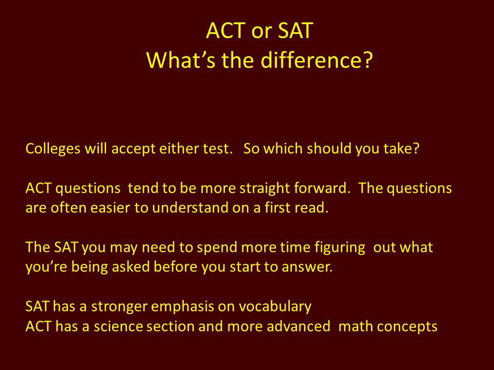 ACT or SAT What's the difference