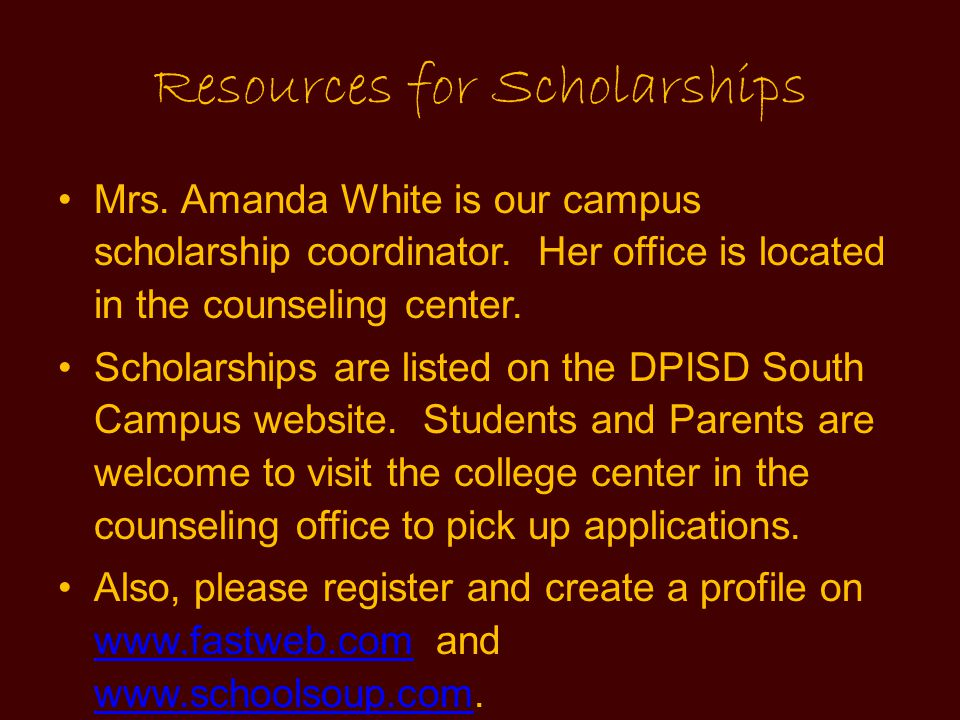 Resources for Scholarships
