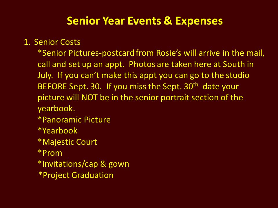 Senior Year Events & Expenses
