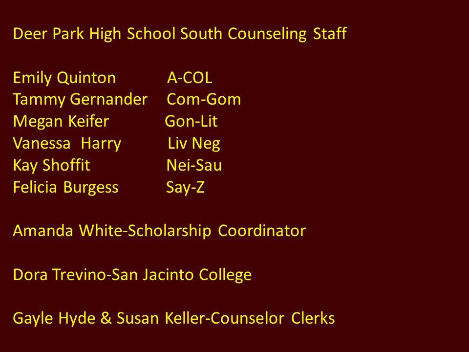 Deer Park High School South Counseling Staff
