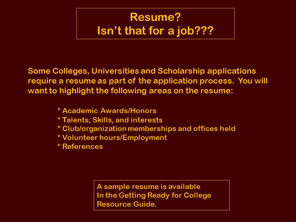 Resume Isn't that for a job