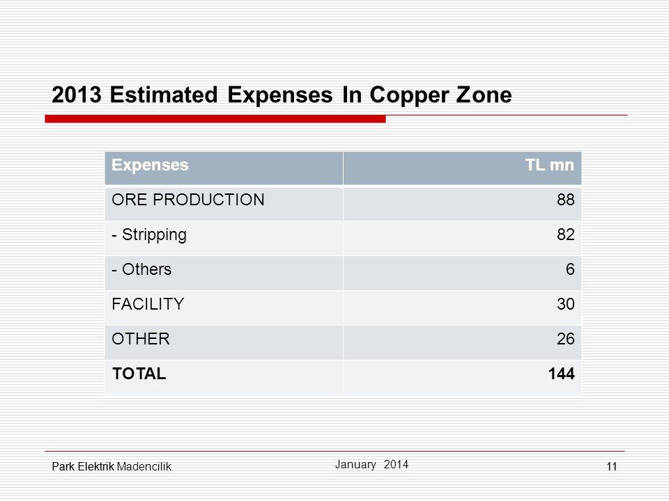 2013 Estimated Expenses In Copper Zone